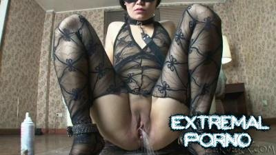 Asian pissing on the floor, sucking dick and pours milk in the ass (PerverX)